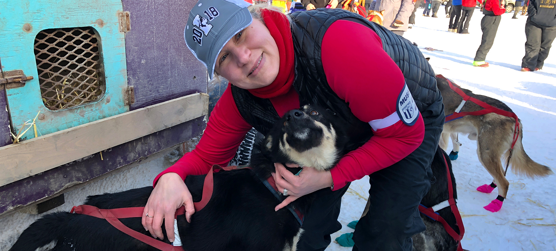 Dr. Jansma at the Iditarod 2018 restart in Willow, Alaska